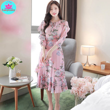 Summer chiffon in the middle of the long five-point sleeves Slim-fit travel seaside resort beach dress V-Neck  Print 2018 limited real princess s new woman s dress ribbon chiffon bohemia long skirt and seaside resort