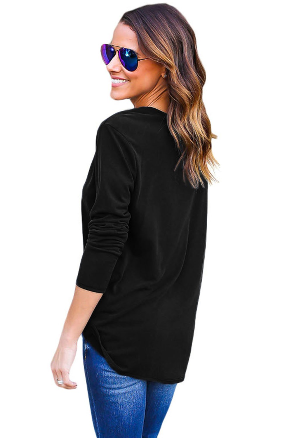 Black-Long-Sleeves-Drape-Top-LC25995-2-2