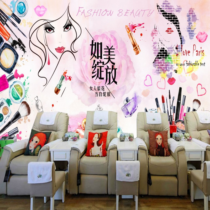 Custom photo wallpaper Custom nail shop mural Beauty shop cosmetics shop decoration painting large poster background wallpaper daniel woodroffe the beauty shop