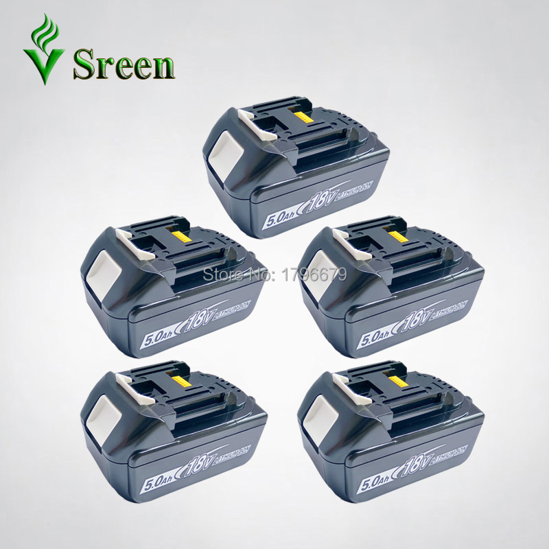 5PCS Rechargeable 5000mAh Lithium Ion Really Capacity Power Tool Battery Replacement for Makita 18V LXT400 BL1850 BL1840 BL1830 1pc rechargeable battery for makita 12v pa12 2000mah ni cd replacement power tool battery formakita 1220 1222 1233s ves26 t40