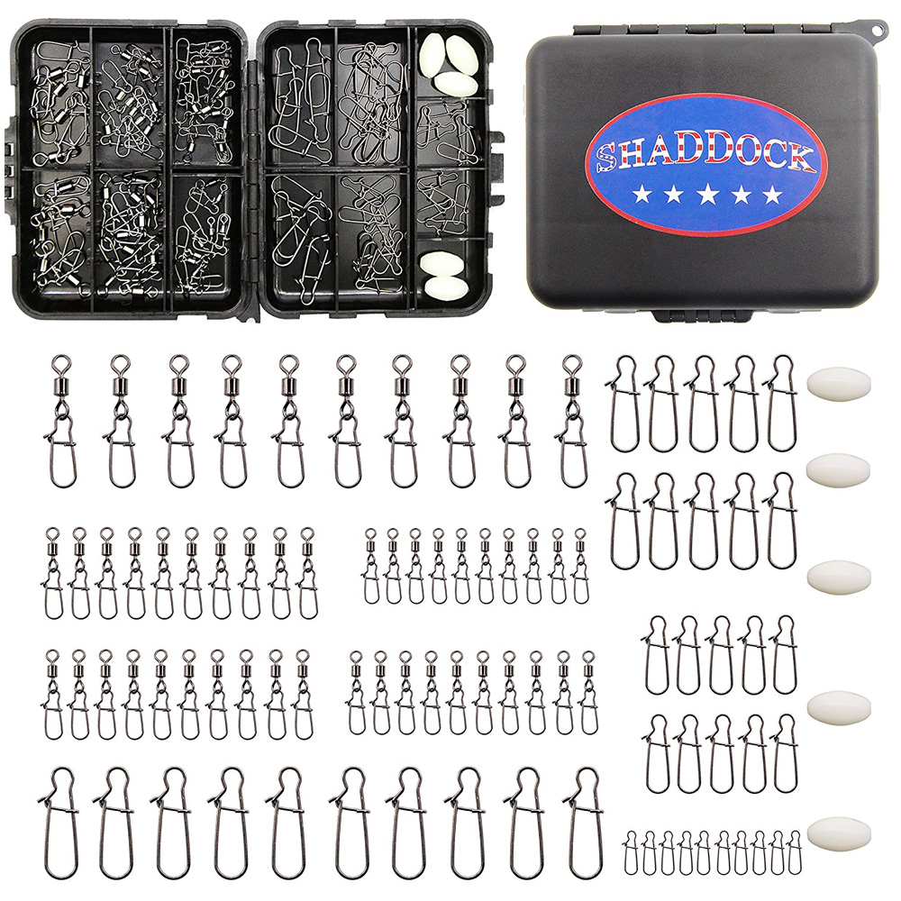 Shaddock Fishing 95Pcs/Box Fishing Accessories Swivels Kit Black Snaps And Swivels Connectors With Fishing Tackle Boxes