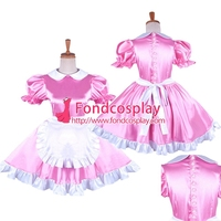 Satin sissy maid dress with Pearl buttons uniform Tailor made