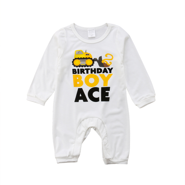 a44a0684e81 2018 Newborn Kids Baby Boy Long Sleeve Romper Ace Birthday White Jumpsuit  Playsuit Outfit Cotton Autumn Winter Clothes