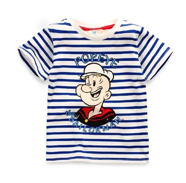 967603989b72 Navy Wind Summer Style Baby Popeye characters t shirt Stripe Boys ...
