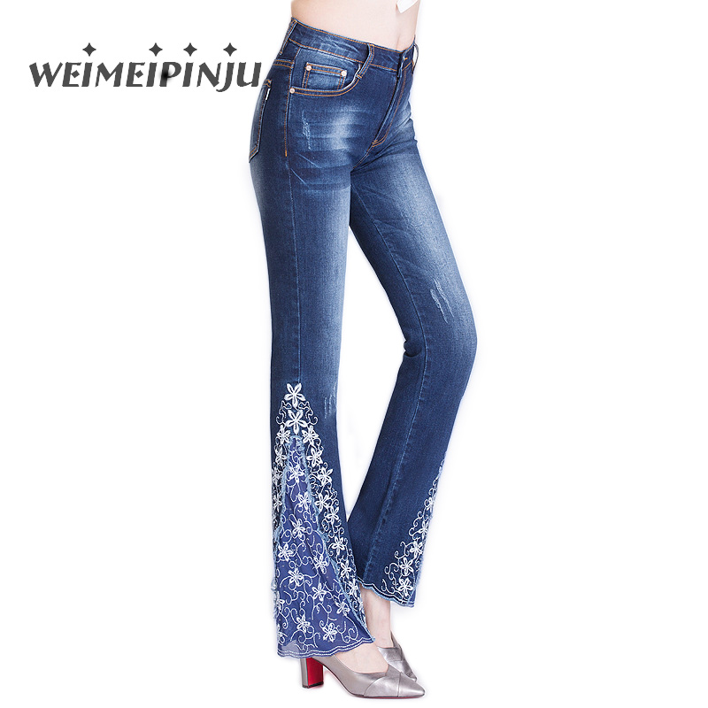 Flared Jeans For Women 2017 Autumn Winter Retro Lace Embroidery Bell Bottom Skinny Denim Pants Push Up Female Trousers Plus Size sexy women denim light blue skinny jeans crochet lace party female carve flower pants for women plus size s 3xl clothing k096
