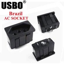 цена на Black embedded industrial outlet Brazilian standard Inverter output socket 250V 15A universal electrical AC power socket