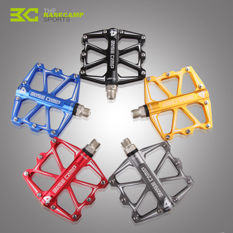 <font><b>BaseCamp</b></font> <font><b>BC</b></font> - <font><b>688</b></font> Mountain Bike Bicycle Pedal MTB Flat Pedals Aluminum Alloy 4 Ball Bearings Ultralight Bicycle Accessory Parts image