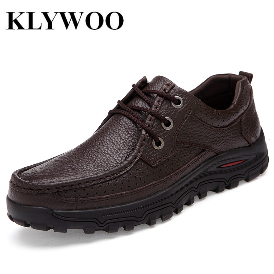 KLYWOO Plus Size 48 Men Shoes Genuine Leather Fashion Casual Shoes Men Handmade Autumn Winter Brand High Quality Men Flats Shoes ninyoo soft fashion men casual shoes genuine leather flats shoes black high quality breathable students shoes plus size 46 47 48