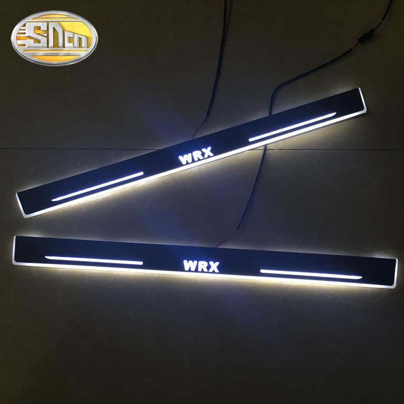 SNCN 4 pièces acrylique mobile LED bienvenue pédale voiture plaque de seuil de porte pédale voie de seuil lumière pour Subaru WRX 2015 2016 2017 2018