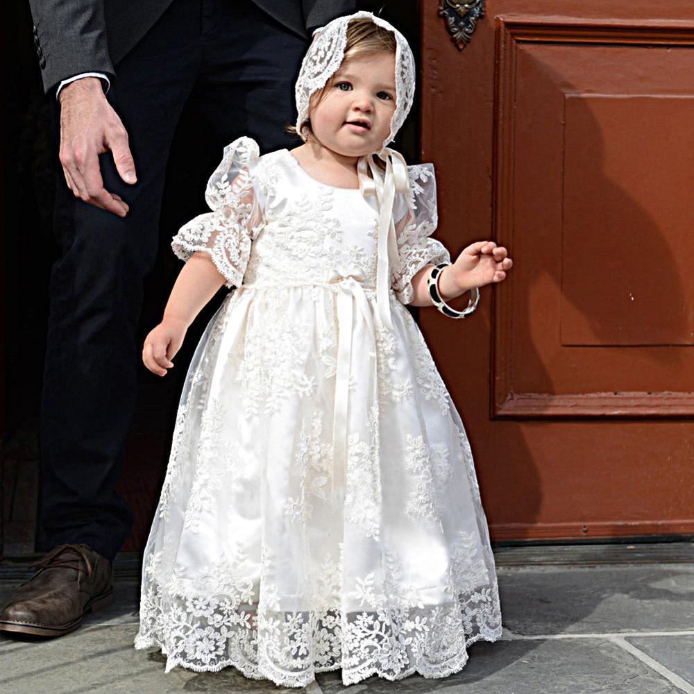 Baby Christening Dresses Infant Lace Baptism Gown Short Sleeve Appliques Unisex