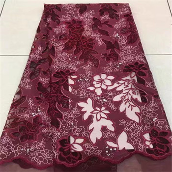 2018 Latest African Lace Fabric High Quality Nigerian Tulle Lace Fabric With Sequins Red Color Organza Lace Fabric F52-2