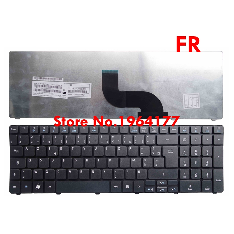 French Keyboard for <font><b>Acer</b></font> <font><b>Aspire</b></font> 5538Z 5538ZG 5539Z 5542Z 5542ZG P5WE0 5745ZG 8942 <font><b>8942G</b></font> 5736Z 5810TG FR AZERTY image