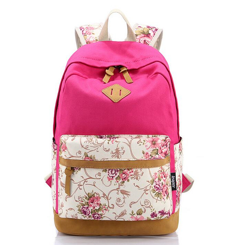 High Quality Floral Leather Canvas Bag Printing Backpack Women Backpacks Backpack School for Teenager Girl Laptop