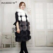 RuiXiangTe INGYENES SHIPPING Női hossza 90cm róka szőrme mellény magas minőségű női gilet valódi róka szőrme női mellény luxus bőséges