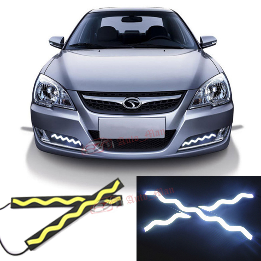 2pcs 8 Waterproof High Quality High Brightness Wave Type COB LED Fog Lights DRL Daytime Running Bulbs LED Lights White 0085