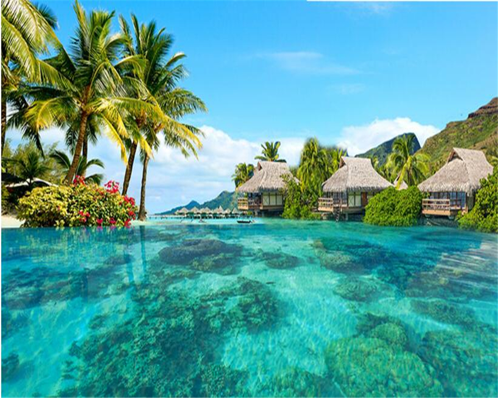 Creative Custom 3d Photo Wallpaper Hd Sea View Tv: Beibehang Wallpaper Large HD Space Extension Maldives Sea
