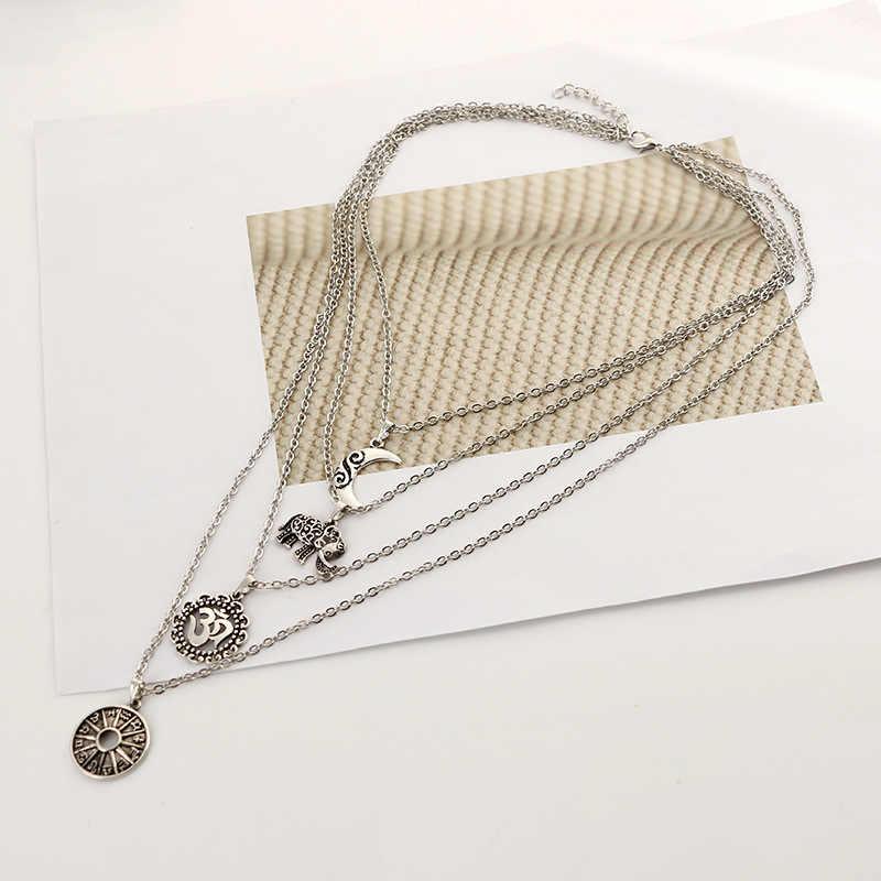 Nova moda multicamadas 3d elefante lua pingente colar feminino liga de metal longo colar clavicular corrente popular jóias