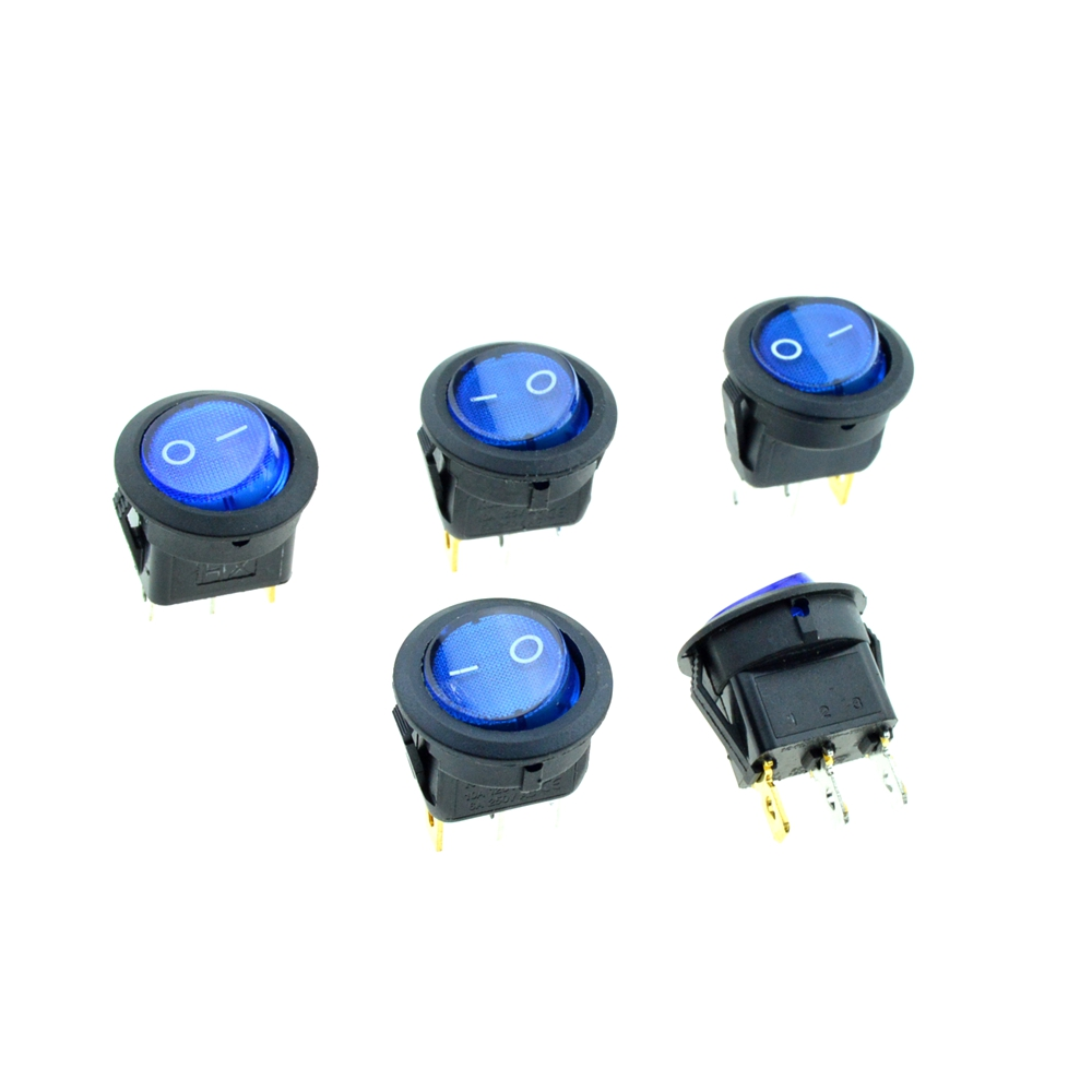 5PCS Blue Button Round Rocker Switch illuminated Light 3Pin SPST 2Position ON/OFF 20mm Snap-in Panel Mount AC 10A 125V,6A 250V 9 pcs panel mount 2 pin spst rocker switch ac 16a 250v ac 10a 125v