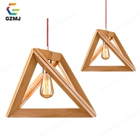 GZMJ Country Wood LED Pendant Lights 85 265V Triangle Loft Hanging Lamp Bedroom Living Room Dining Room E27 Creative Hanglamp