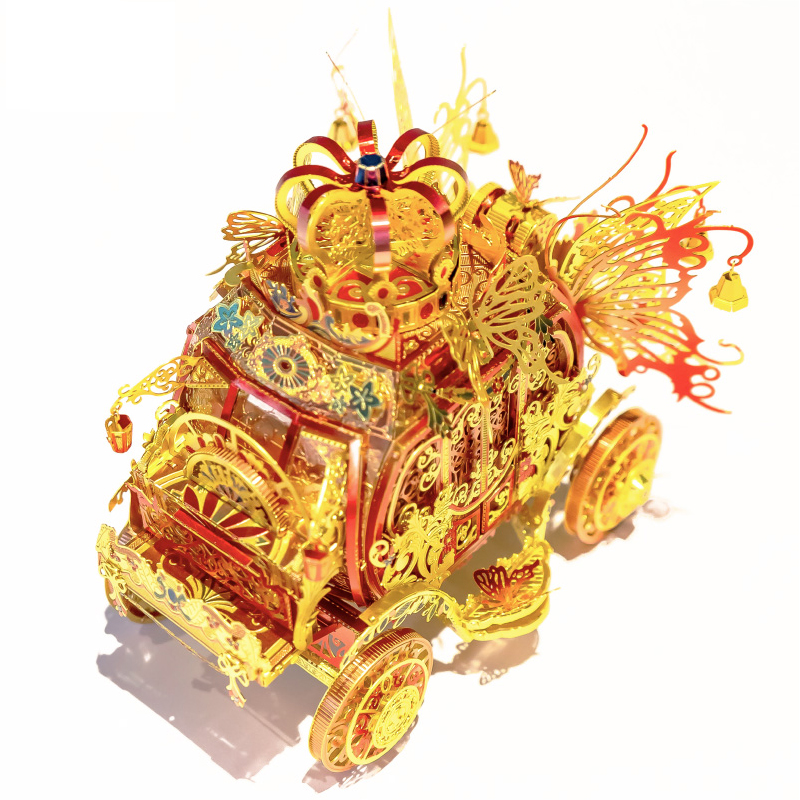 MU 3D Metal Puzzle Figure Toy Red Rincess Carriage model with LED light Assemble Jigsaw Puzzle