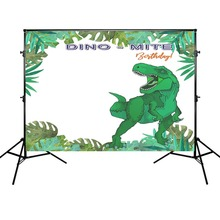 Photography Background Birthday Party Backdrop Green Dinosaur Props Decoration for Photo Shoot Vinyl Cloth dark warrior