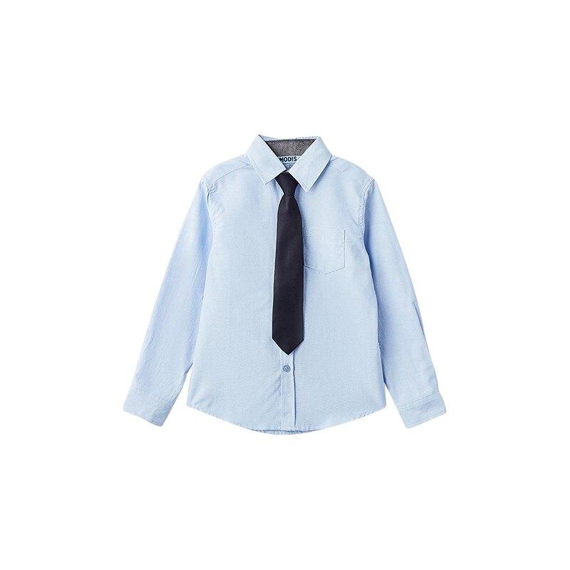 Blouses & Shirts MODIS M182K00074 for boys kids clothes children clothes TmallFS kids clothes sets for girls turn down collar blouses