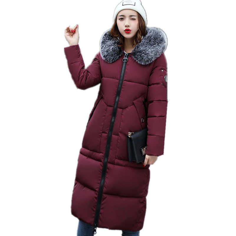 Winter Thicker Large Fur Collar Hooded Cotton Jacket Women Warmer Padded Parka High Quality Wadded Coat Chaqueta Mujer TT3071 hijklnl winter jacket coat women 2017 high quality long style letter hooded fur collar cotton parka mujer female overcoat na314