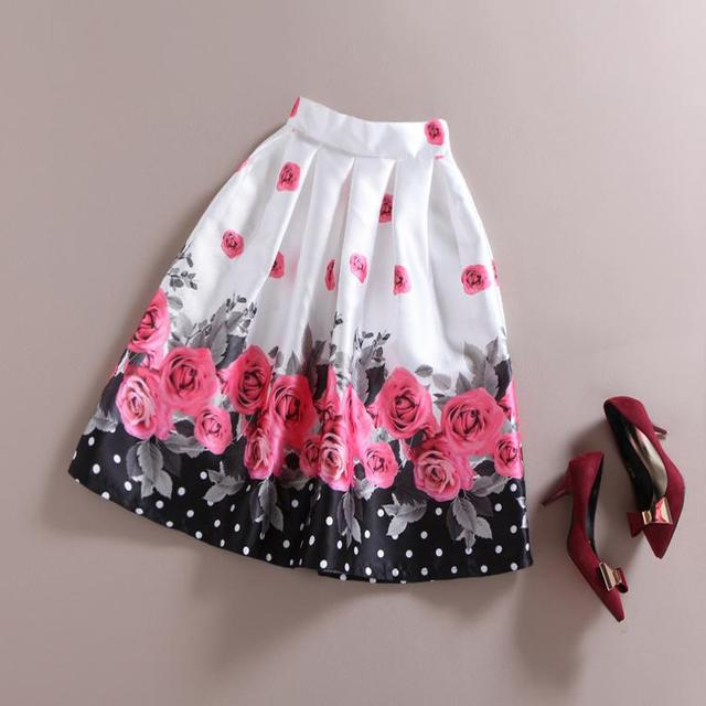 4504277c1af € 30.64 |Hot 2015 Fashion Skirts Womens Romance Polka Dot Rose printed  skirts tutu skirt High Waist Long Casual Skirt saia Summer Style en Faldas  de ...