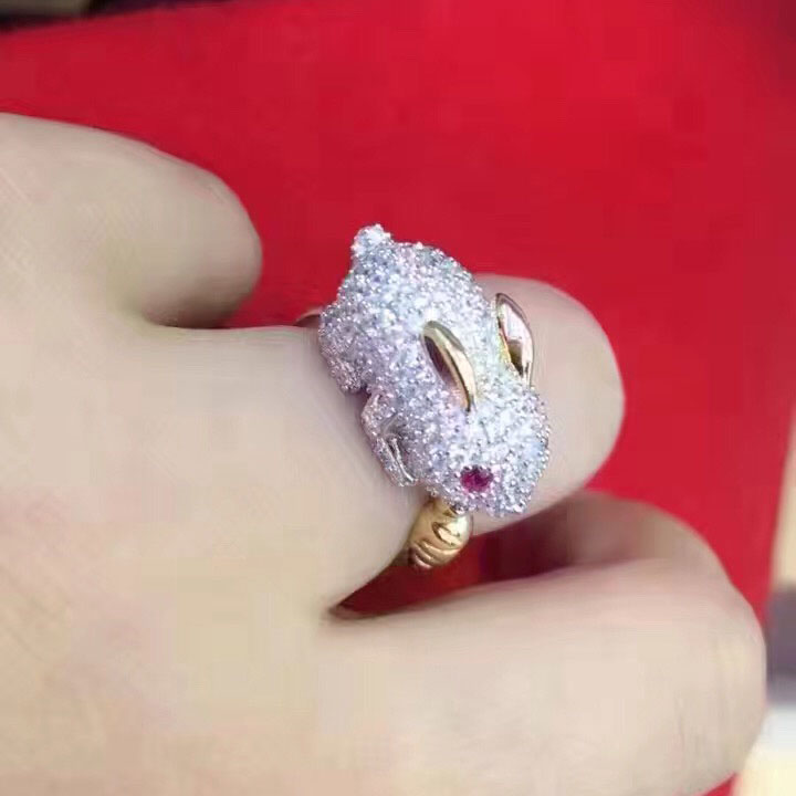 Qi Xuan_Trendy Jewelry_Cute Little Bunny Ring_S925 Solid Sliver Fashion Cute Little Bunny Ring_Manufacturer Directly Sale цена