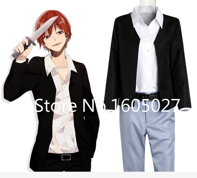 Anime Assassinat Classe Akabane Karma Parti Hallowmas Vêtements Cosplay  Costume Manteau + pantalon + chemise + 07e16133037