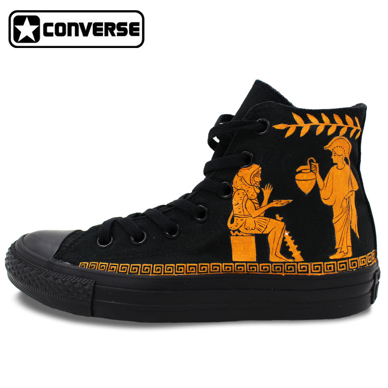 High Top All Black Converse Chuck Taylor Shoes Retro Painted Red-figure Design Custom Hand Painted Shoes Mens Womens Sneakers mens converse shoes custom hand painted hunger game high top black canvas sneakers unique presents