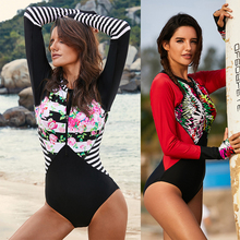 Rash Guard Women Surf Swim Shirts Guards Swimwear Elastic One-piece Swimsuit Anti-UV Long Sleeve for