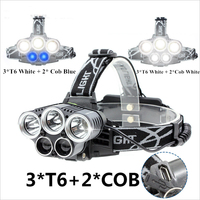 18650 Battery Bike Headlamp 3T6 + 2 White / Blue Light Led Head Light 8000LM USB Rechargeable For Fishing, Work, Cycling, Walk