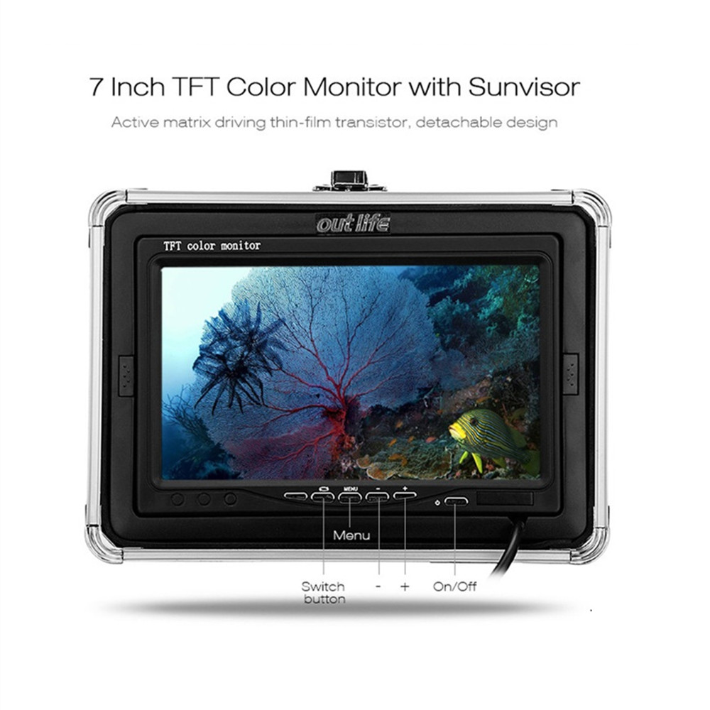 Outlife 15M IR 7 inch 1000TVL Underwater Fishing Video Camera Kit Fish Finder with Professional Video Camera Infrared Lamp