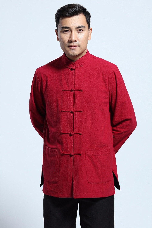 Shanghai Story vêtements traditionnels chinois chemise à manches longues mélange de lin Tang costume col mandarin veste réversible 2 couleurs
