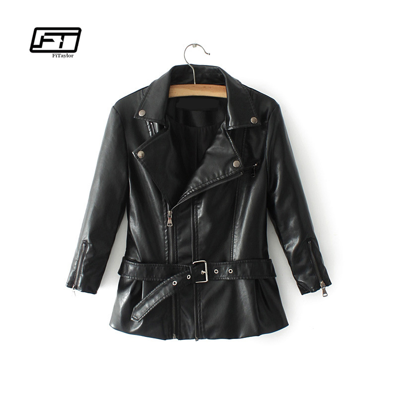 Fitaylor New Women Rivets Pu   Leather   Jacket Autumn Spring Faux Soft Slim Coat Black Zipper With Belt Motorcycle Outerwear