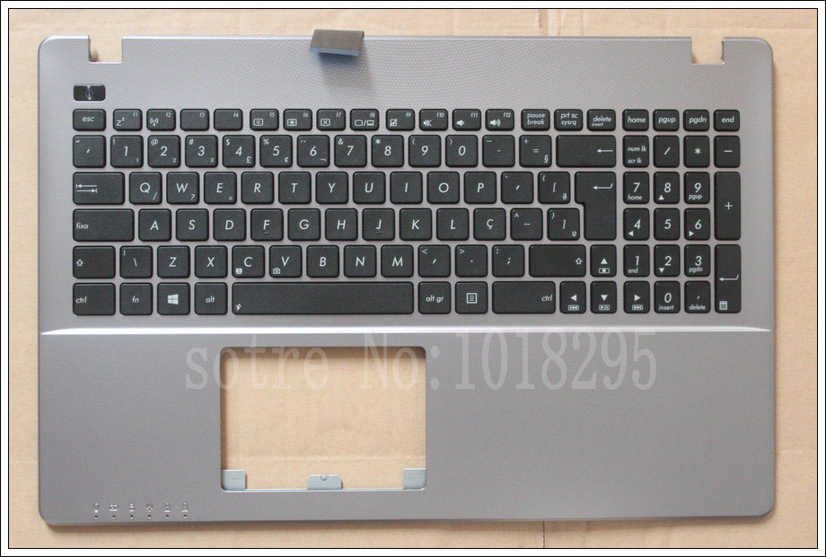 New BR Laptop <font><b>Keyboard</b></font> for <font><b>ASUS</b></font> <font><b>X550</b></font> K550V X550C X550VC A550L Y581C F550 R510L X550J X550V Brazil Silver Shell Palmrest <font><b>Cover</b></font> image