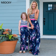 Family matching clothes Striped Floral Dress vestido mae e filha Mother daughter dresses 2019 and E0122