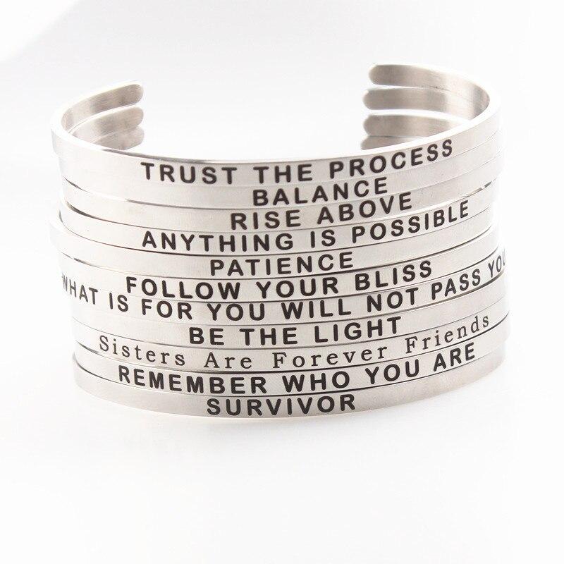Серебро 4 мм Нержавеющаясталь положительный вдохновляющие браслет с гравировкой Цитата мантра браслет и манжета для мамочек подарок на де...
