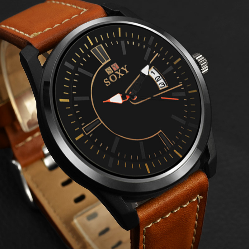 SOXY Luxury Brand Analog Date Men's Quartz Watch Casual Watch Men Wristwatch Leather Strap Sport Watches Male Clock reloj hombre natural bamboo watch men casual watches male analog quartz soft genuine leather strap antique wood wristwatch gift reloje hombre