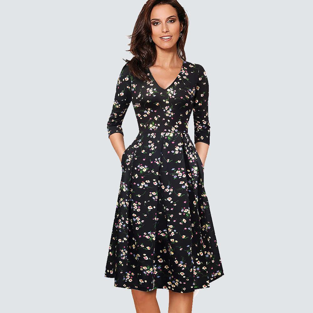 Для женщин Винтаж с пышной юбкой качели Повседневное плиссированное платье с коротким и широким подолом офисные вечерние платье HA126