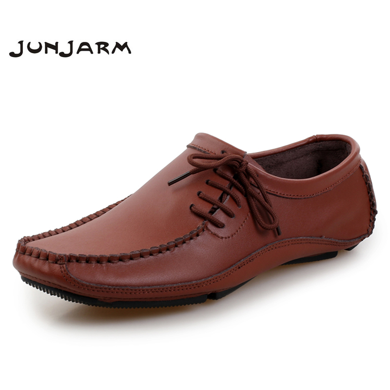 JUNJARM 2018 Big Size 38-47 Men Loafers Moccasins Leather Casual Shoes Mens Slip On Shoes Fashion Breathable Men Driving Shoes men leather shoes casual 2017 autumn fashion shoes for men designer shoes casual breathable big size mens shoes comfort loafers