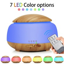 DC 12-24V 300ML Wood Grain Remote Control Aroma Diffuser Whisper Silent Essential Oil Difusor Color Lamp Aromatherapy Humidifier