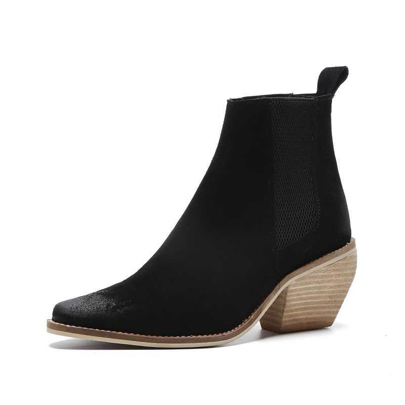 FACNDINLL vrouwen herfst winter enkellaarsjes nieuwe mode echt nubuck lederen schoenen vrouw zwarte rijlaarzen hoge hakken schoenen