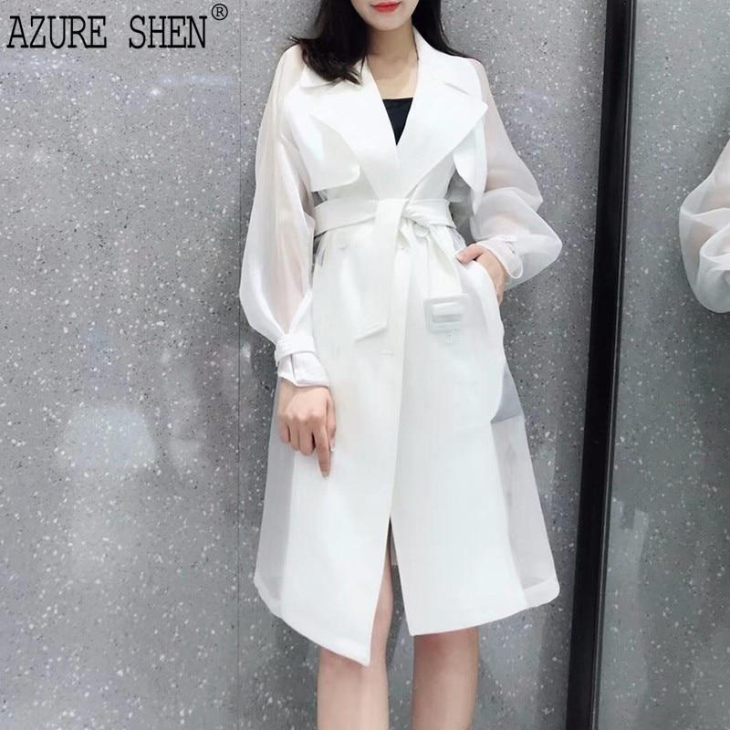 [EWQ] New Summer Autumn 2018 Fashion double breasted lapel Waist Bandage Split Joint Windbreaker Loose Coat Woman WA541