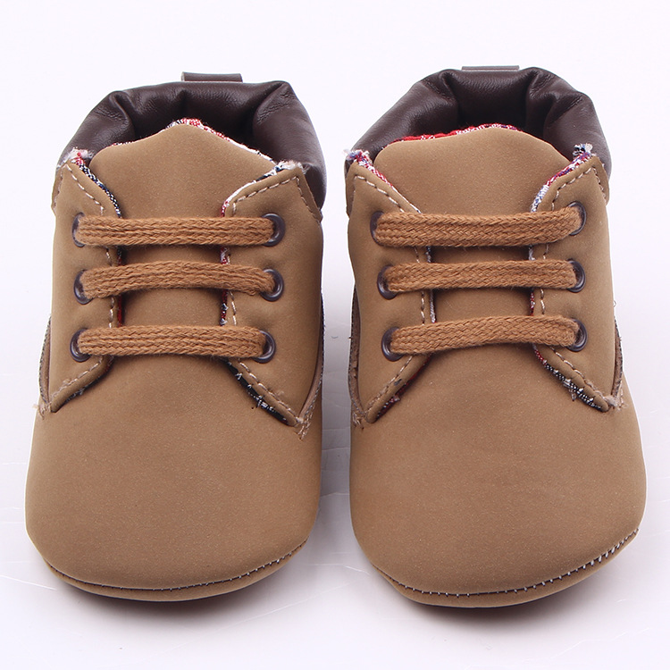Fashion Lace-up Brown Toddler Baby Shoes PU Leather Boy And Girls Leisure Sport Shoes Newborn Shoes First Walkers