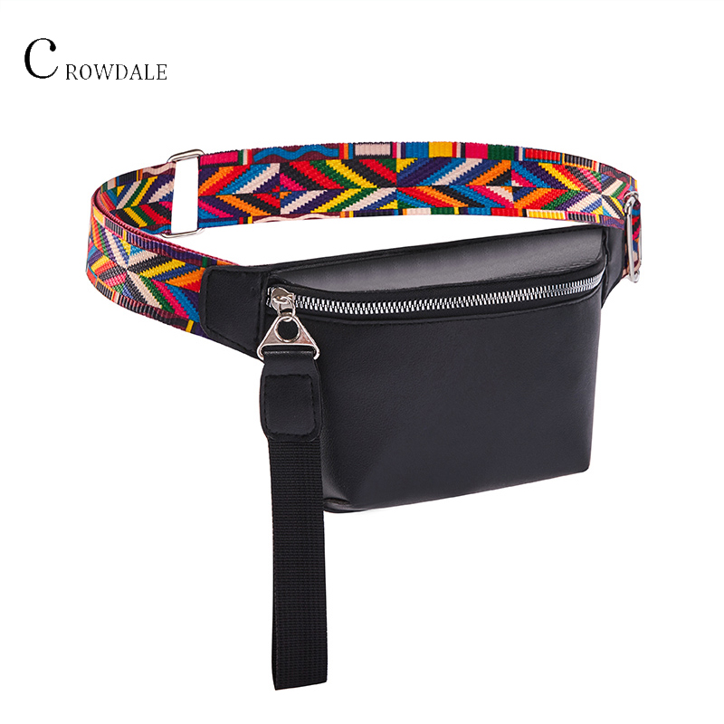 CROWDALE Waist Bag For Women New Leather Fanny Pack For Girls Letter Bum Bag Packs Fashion Chest Bag Crossbody Belt Female