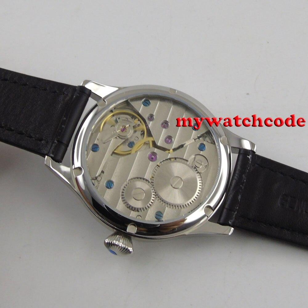 Livraison Gratuite 44mm classique cadran noir parnis lumineux makrs asie 6497 mouvement montres mécaniques à remontage manuel montre pour hommes PA01 - 4