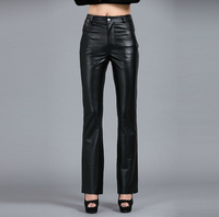 2019 Fashion Women genuine leather sheepskin trousers tight package hip casual pants leather suit pants Singer costumes