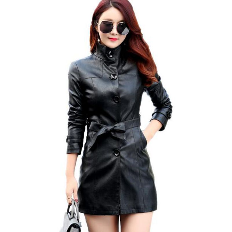 2017 spring autumn new womens leather jacket Slim collar single-breasted leather coat locomotive medium-long female outerwear